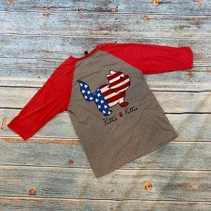 Kittie Kittie American Flag Cat Raglan Top M